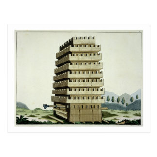 Moveable tower with outer galleries and an additio postcard