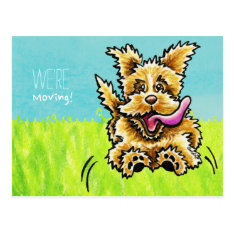 Moved Moving Cute Dog New Address Announcements Postcard at Zazzle