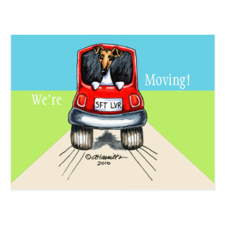 Moved Moving Fox Terrier New Address Announcements Postcard