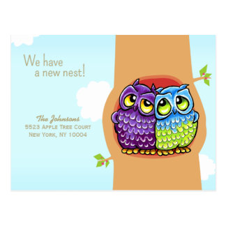 Moved Owls Love Nest New Address Postcard