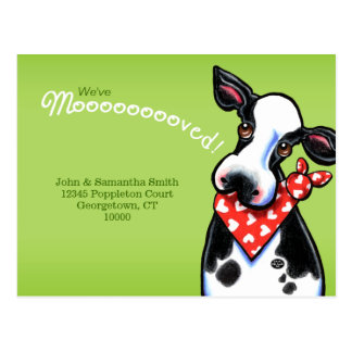 Moved Sweetheart Cow New Address Announcements Postcard