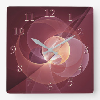 Movement Abstract Modern Wine Red Pink Fractal Art Square Wall Clock