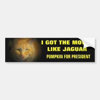 Moves Like Jaguar Pumpkin for President Bumper Sticker