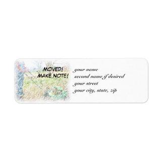 ¡Movido! ¡Haga la nota! Etiqueta CPLM del remite Etiqueta De Remite