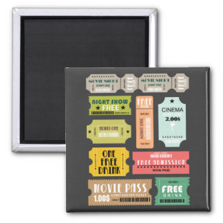 Movie Admission Tickets 2 Inch Square Magnet