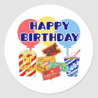 Movie Birthday Classic Round Sticker