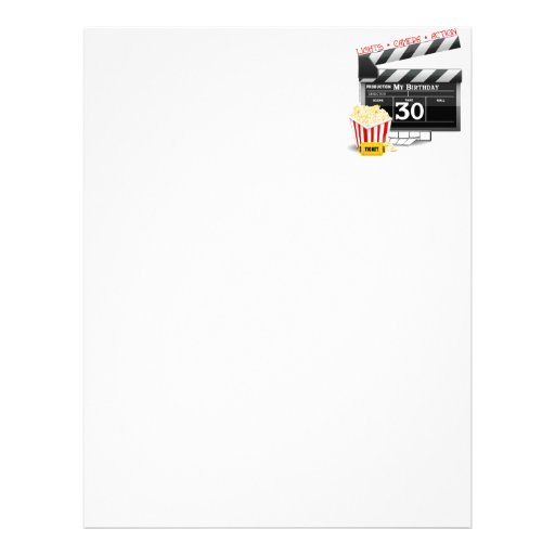 Movie Birthday Party 30th Birthday Letterhead Template