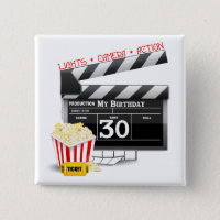 Movie Birthday Party 30th Birthday Pinback Button