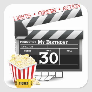 Movie Birthday Party 30th Birthday Square Sticker
