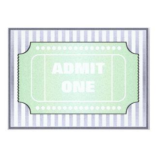 Movie Birthday Party Blue Green 5x7 Paper Invitation Card