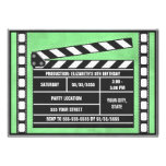Movie Birthday Party Clapboard Green Custom Announcement