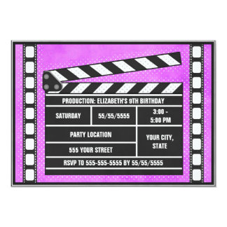 Movie Birthday Party Clapboard Purple 5x7 Paper Invitation Card