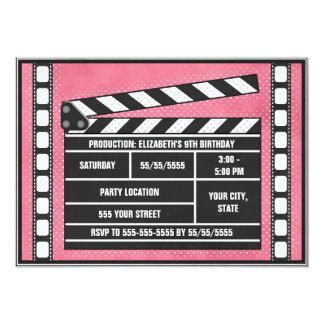 Movie Birthday Party Clapboard Red Card