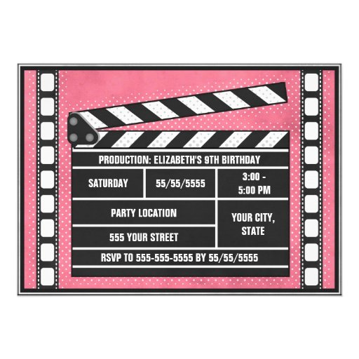 Movie Birthday Party Clapboard Red Invites