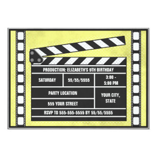 Movie Birthday Party Clapboard Yellow Card