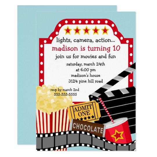 movie birthday party invitation zazzle com