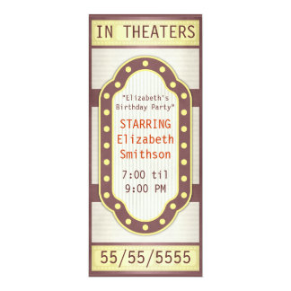 Movie Birthday Party Marquee 4x9.25 Paper Invitation Card