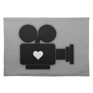 MOVIE CAMERA AND HEART Cloth Placemat