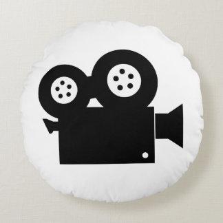 MOVIE CAMERA (BLACK AND WHITE) Round Pillow