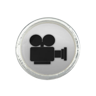 MOVIE CAMERA (BLACK) Silver Plated Ring