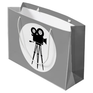 MOVIE CAMERA (CLASSIC BLACK AND WHITE) LARGE GIFT BAG