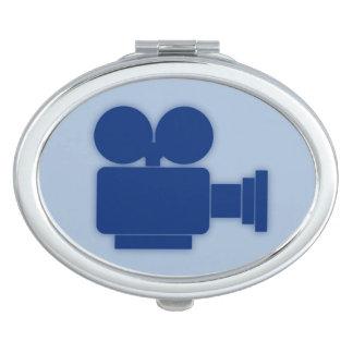 MOVIE CAMERA (ELEGANT BLUE) Oval Compact Mirror