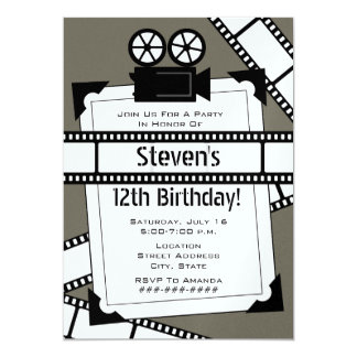 Movie Camera Film and Photo Birthday Party Invite