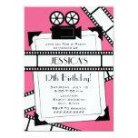"Movie Camera Film and Photo Birthday Party Invite 5"" X 7"" Invitation Card"