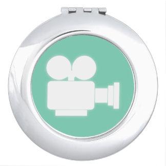 MOVIE CAMERA (GREEN) Round Compact Mirror