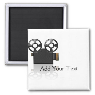 Movie Camera in Black and Gold on White 2 Inch Square Magnet