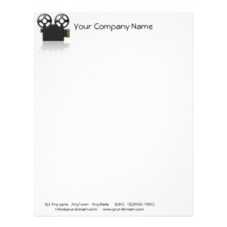 Movie Camera in Black and Gold on White Background Letterhead