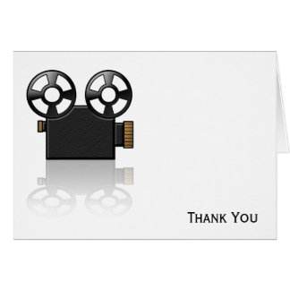 Movie Camera in Black and Gold on White Card