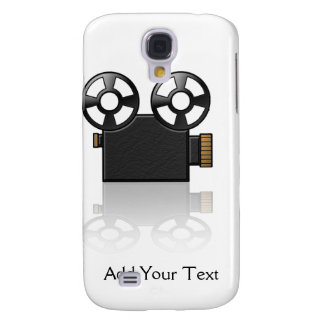 Movie Camera in Black and Gold on White Samsung Galaxy S4 Cover