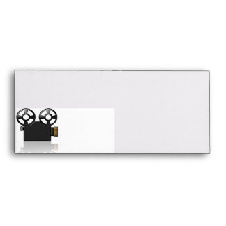 Movie Camera in Black and Gold on White Envelope