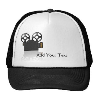 Movie Camera in Black and Gold on White Trucker Hat