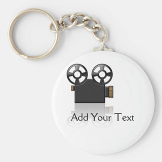 Movie Camera in Black and Gold on White Keychain