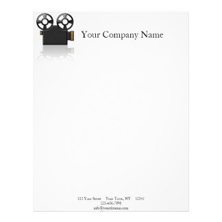 Movie Camera in Black and Gold on White Letterhead