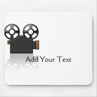 Movie Camera in Black and Gold on White Mouse Pad