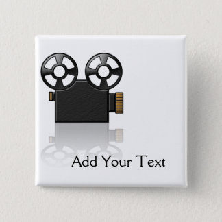 Movie Camera in Black and Gold on White Pinback Button