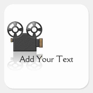 Movie Camera in Black and Gold on White Square Sticker