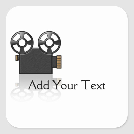 Movie Camera in Black and Gold on White Square Stickers