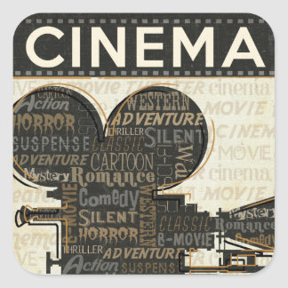 Movie Camera Reel Square Sticker