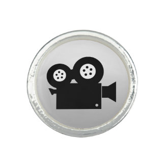 MOVIE CAMERA Silver Plated Ring