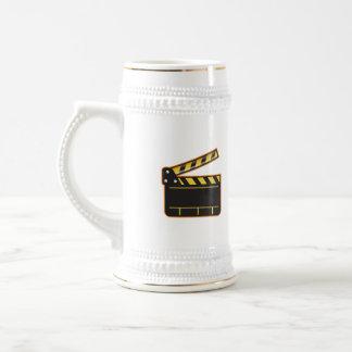 Movie Camera Slate Clapper Board Open Retro Beer Stein