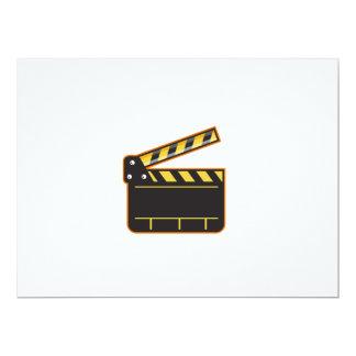 Movie Camera Slate Clapper Board Open Retro Card