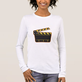 Movie Camera Slate Clapper Board Open Retro Long Sleeve T-Shirt