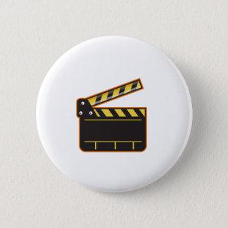 Movie Camera Slate Clapper Board Open Retro Pinback Button