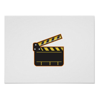 Movie Camera Slate Clapper Board Open Retro Poster