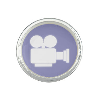 MOVIE CAMERA (WHITE) Silver Plated Ring