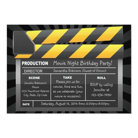 movie clap board custom party invitations zazzle com